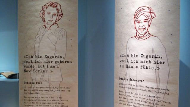 Zwei helle Plakate mit Zeichnungen von Frauen und einem Text.
