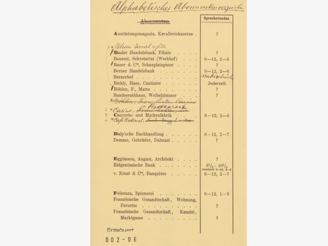 Telefonbuchseite mit wenigen Namen und einstelligen Nummern.