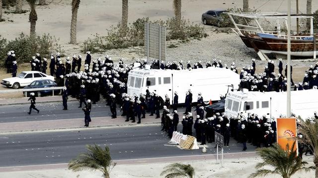 Gepanzerte Wagen und Polizisten in Vollmontur, fotografiert aus der Ferne.