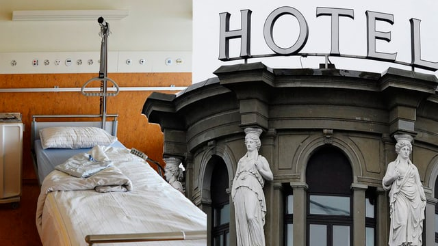 Fotomontage aus einem Spitalbett und einer Hotelfassade