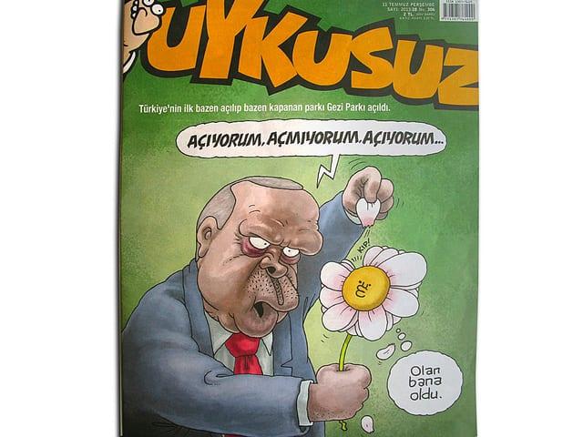 Ministerpräsident auf der Titelseite des Magazins Uykusuz: Er reisst die Blätter einer Blume einzeln ab und hofft so zu einer Entscheidung bezüglich der Eröffnung des Gezi-Parks zu kommen.