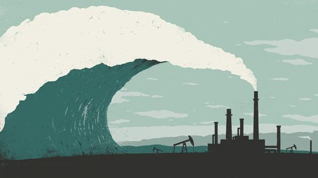 Industrierauch geht in Welle über.