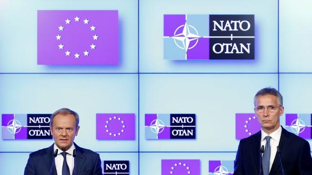 EU-Ratspräsident Donald Tusk und Nato-Generalsekretär Jens Stoltenberg diskutieren am Gipfel.