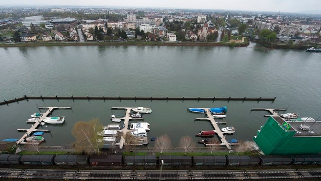Das Hafengelände mit dem Rhein in Basel