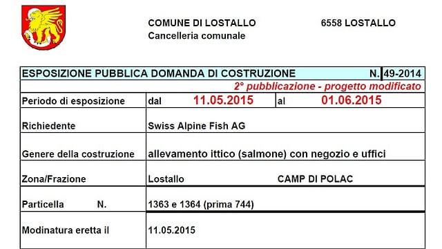 Esposizione pubblicca domanda di costruzione comune di Lostallo