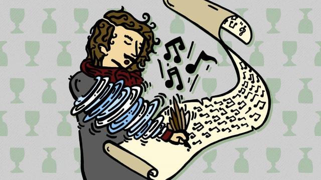 Zeichnung: Ein Komponist schreibt in Windeseile.