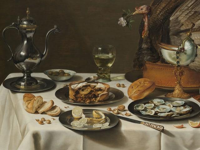 Ein Stillleben von Peter Claesz, das eine Truthahnpastete zeigt.