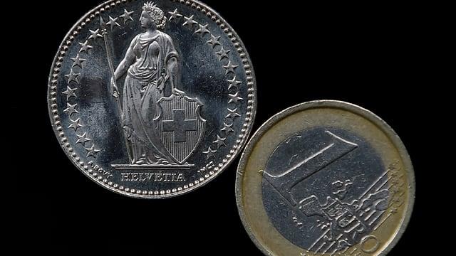 Eine Franken- und eine Euromünze auf schwarzem Grund.