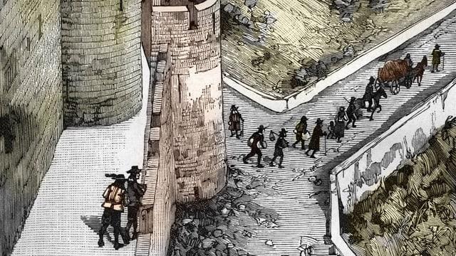 Eine kolorierte Zeichnung zeigt, wie Hugenotten auf der Flucht Frankreich verlassen.
