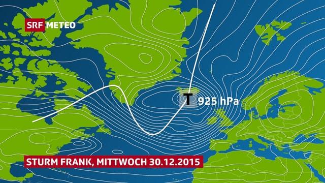 Karte vom Atlantik, Sturmtief bei Island. Der Pfas geht vom Norden Kanadas über Südgrönland und Island nach Norden