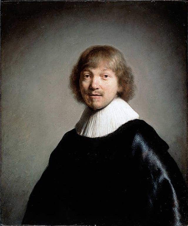 Porträt eines Mannes in schwarzem Gewand und weisser Halskrause.