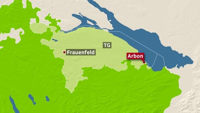 Karte mit der eingezeichneten Ortschaft Arbon.