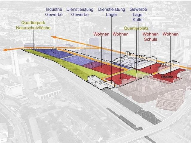 Plan Volta NOrd, wo man genau sehen kann, wo das Gewerbe und wo Wohnbauten samt Schulhaus und Grünflächen entstehen sollen.
