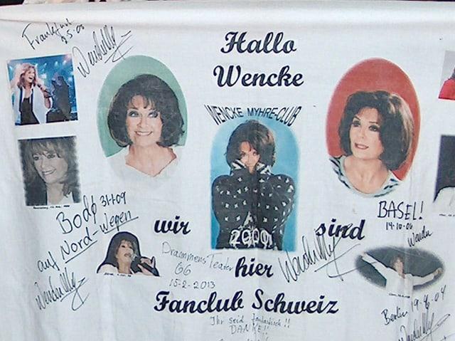 Fanplakat mit Fotos und Unterschriften von Wencke.