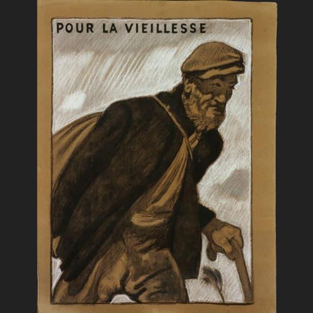 Ein alter Mann mit Mütze, Rucksack und Gehstock.