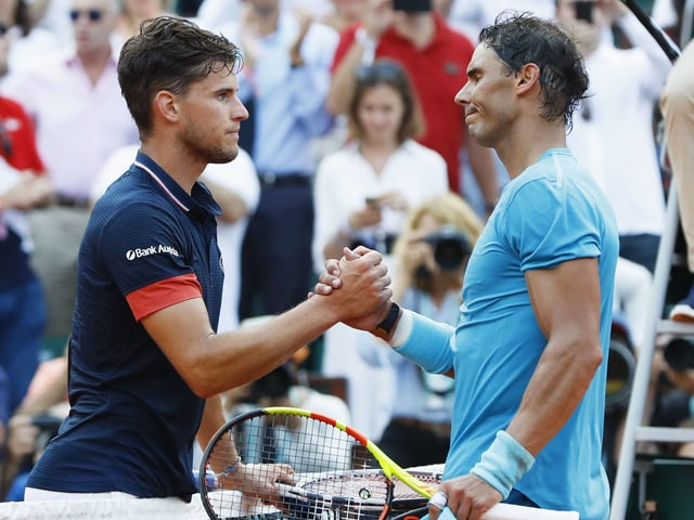 Dominic Thiem (l.) fordert Rafael Nadal im US-Open-Viertelfinal.