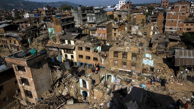 Zerstörung in Sankhu am Stadtrand von Kathmandu. (Bild vom 5. Mai 2015)