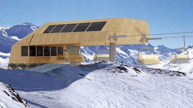 Visualisierung der Bergstation.