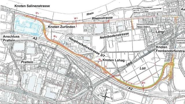 Karte mit der Rheinstrasse und der geplanten neuen Strasse.