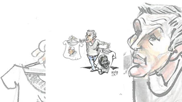 Schlegel hält zwei Shirts. Auf einem Mandela, auf dem anderen Blocher.