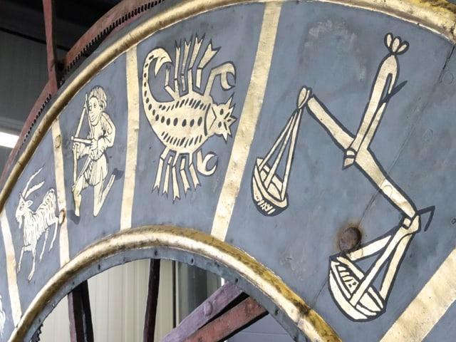Das Zifferblatt zeigt nicht nur die Zeit an, sondern auch die Sternzeichen, die Monate, den Sonnenstand und den Mondstand.