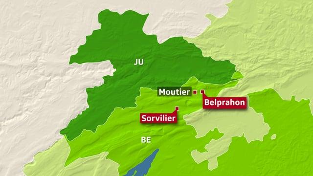 Karte Kanton Bern und Jura