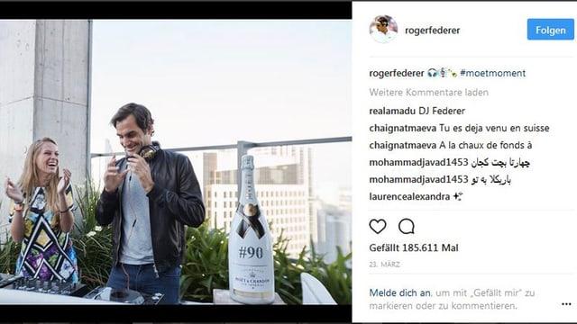 Instagram-Account Roger Federer.