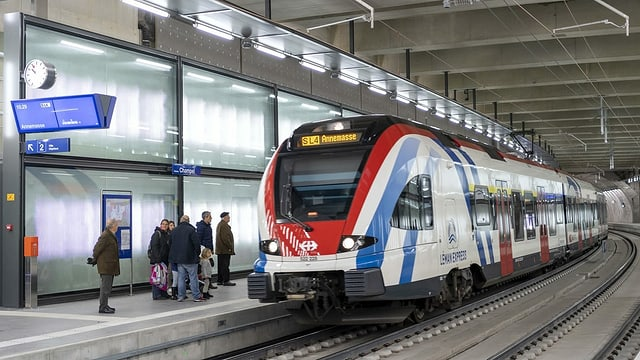 Tren da s-bahn da la regiun enturn il Lai da Genevra.