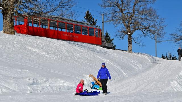 Rigi Bahn mit Familie mit Schlitten