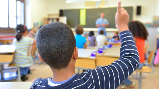 Eine Schulklasse im Zimmer, fotografiert aus den hinteren Reihen.
