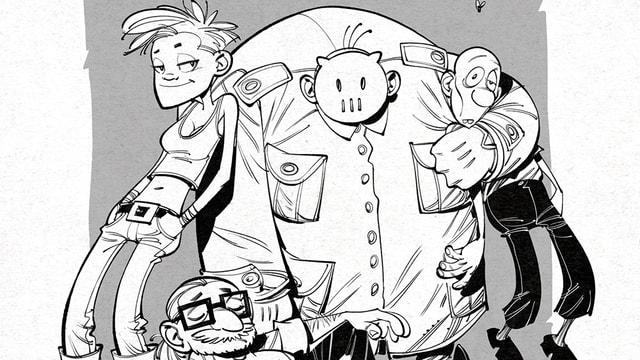 Ein Mädchen, ein Maskierter, ein Zombie und ein bärtiger Mann lächeln