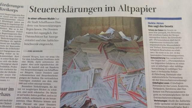 Ausriss aus den Schaffhauser Nachrichten mit einem Bild der entsorgten Steuererklärungen.