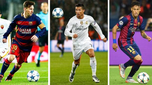 Drei Einzelbilder der Fussballspieler Messi, Ronaldo und Neymar.