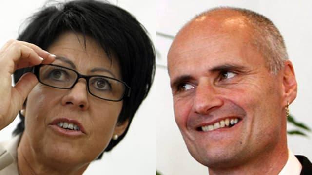 Die beiden abtretenden Nidwaldner Regierungsräte Yvonne von Deschwanden und Ueli Amstad.