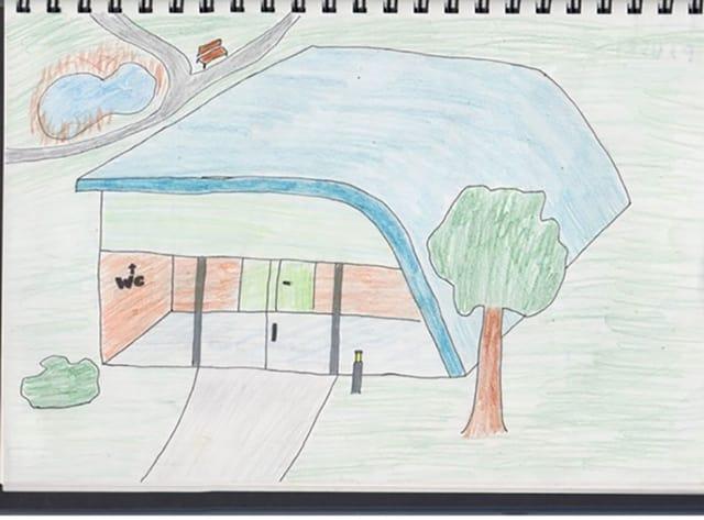 Zeichnung einer Schule