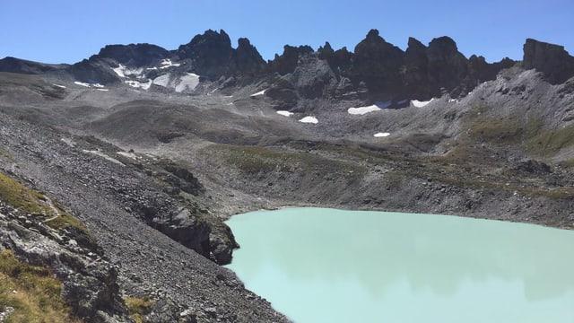 In einer Berglandschaft ist im Vordergrund ein milchig-bläulicher Gletschersee zu sehen. Dahinter eine Gipfelreihe, beim höchsten Gipfel ist ein kleiner Gletscher zu sehen.
