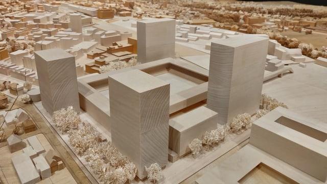 Ein Modell des neuen Fussballstadions.