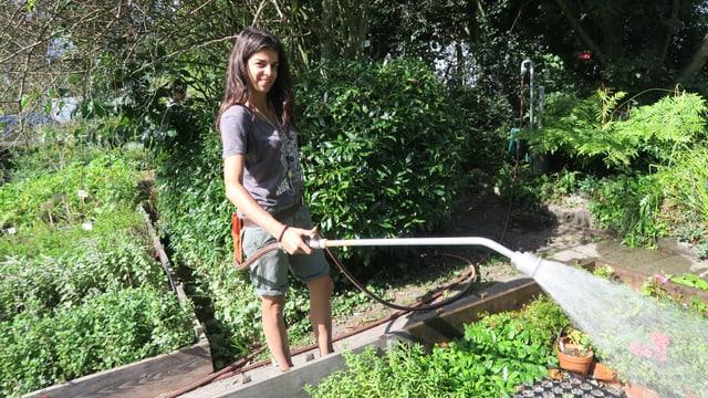 Junge Frau giesst die Pflanzen in einem Gartenbeet.