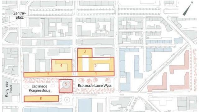 Plan des betroffenen Gebiets im Zentrum der Stadt Biel