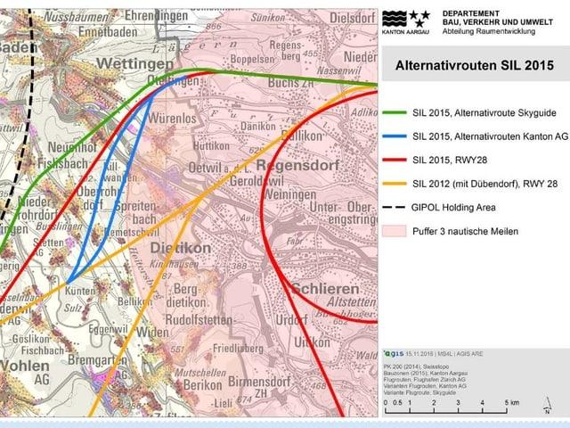 Karte mit verschiedenen Flugrouten