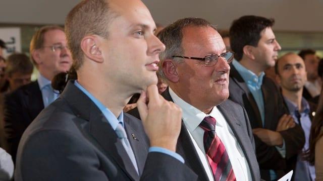 SVP-Parteistratege Joel Thüring (links) und Ersatzkandidat Eduard Rutschmann.