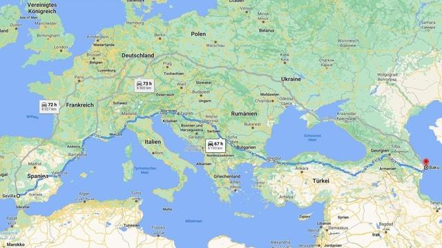 So lange braucht man gemäss Google Maps für die Strecke von Sevilla nach Baku.