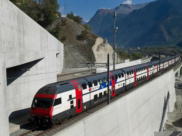 Zug vor einem Tunnel