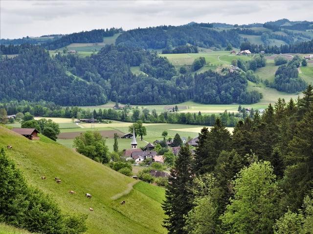 Blick auf Rüderswil im Emmental.