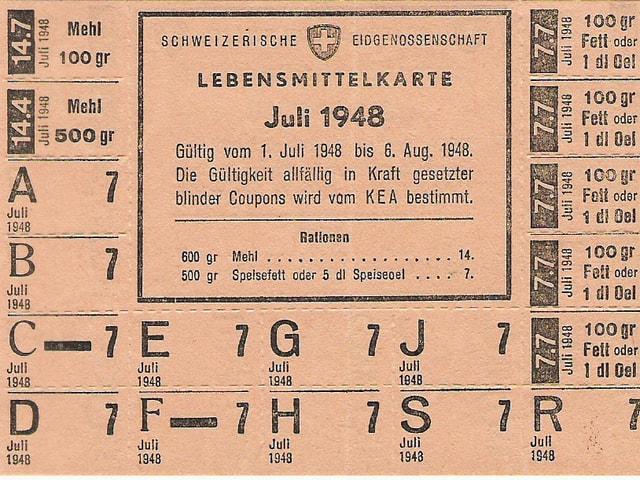 Rationsmarke, Lebensmittelkarte vom Juli 1948
