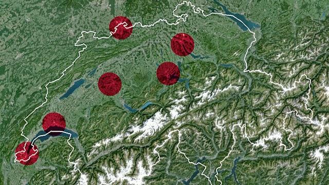 Schweizerkarte mit sechs Kreisflächen von 600 km2 in den Grossagglomerationen.