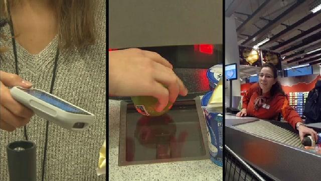 Drei Bilder mit Subito-Lesegerät, Self-Scanner und Kassierin.
