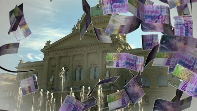 Herunterflatternde Tausendernoten vor dem Bundeshaus.