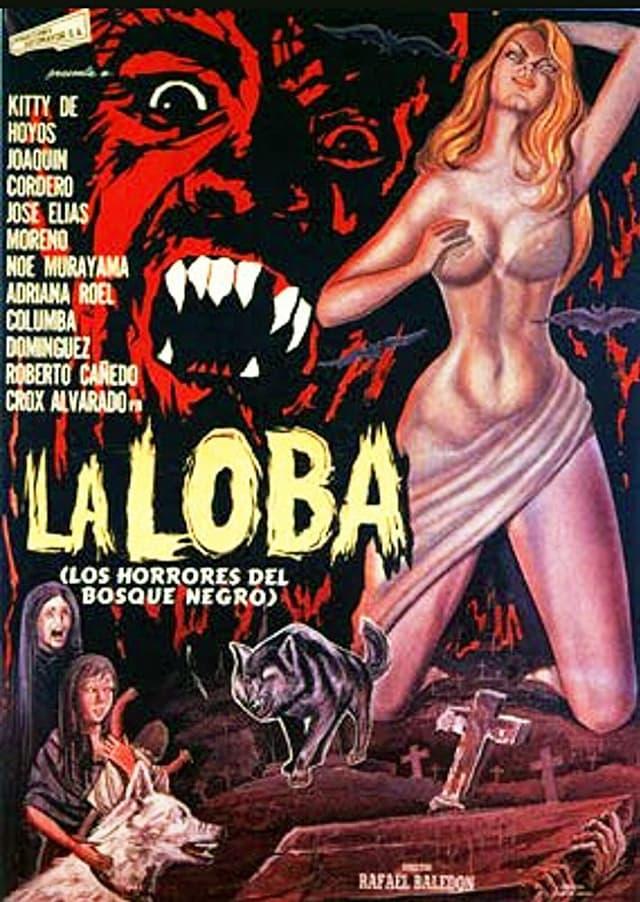 Ein buntes Filmplakat: Eine fast nackte Frau steht neben dem Gesicht eines Monsters.