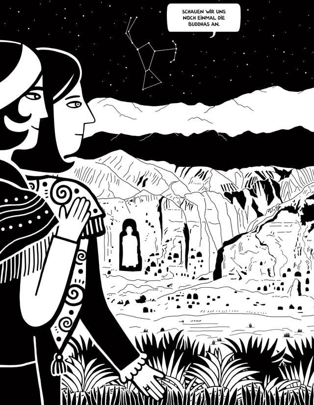 Eine Comic-Zeichnung. Zwei Frauen schauen auf eine Landschaft.